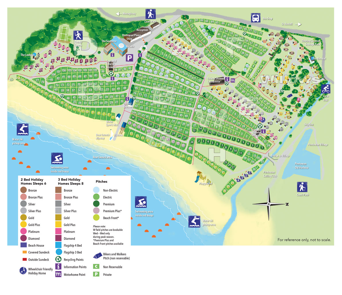holiday park layout and map pentewan sands holidays