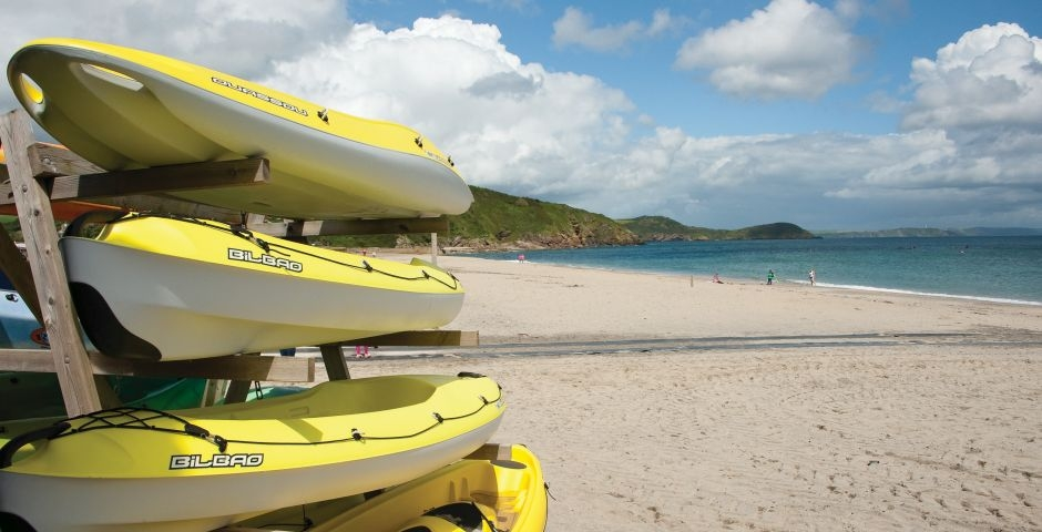 Watersports on the beach at Pentewan