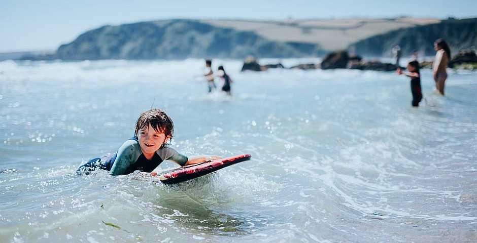 Boy Surfing At Pentewan